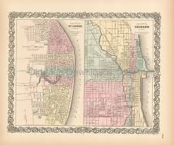 chicago map printable st louis chicago map colton 1855 digital image scan