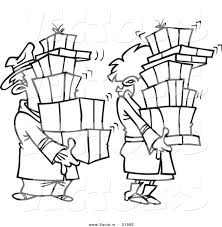 vector of a cartoon shaking couple carrying packages outlined