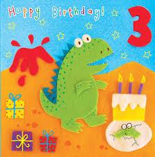 dinosaur birthday age 3 dinosaur birthday card tw258