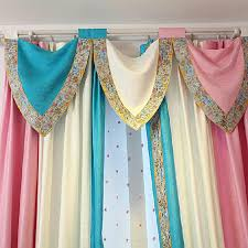 White Valance Toile Blue Pink White Striped Curtains No Valance