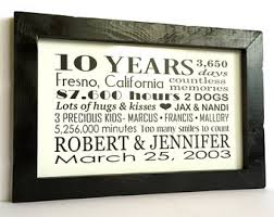 10 year wedding anniversary gift 10 year anniversary etsy
