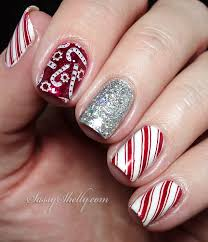diy christmas nail art xmas candy cane nails bows design copycat