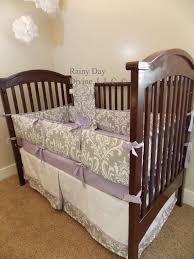 crib bedding custom grey lavender purple boy bumperless