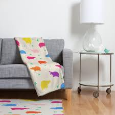 Funky Home Decor Kangarui Happy Hippo Party Fleece Throw Blanket Blanket Fleece
