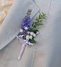 wedding flowers buttonholes artificial lilac lavender green rosemary spray gypsophila