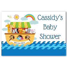 baby shower poster noah s ark personalized baby shower poster at dollar carousel