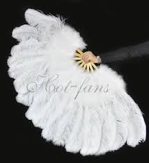 burlesque fans white ostrich marabou feathers fan burlesque with carrying