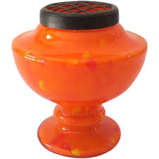 Vintage Orange Glass Vase Vintage Orange Czechoslovakian Art Glass Vase With Brass Flower