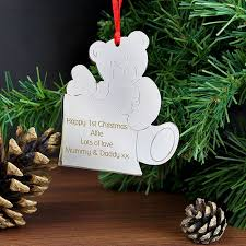Teddy Bear Christmas Tree Decorations by Teddy Bear Personalised Metal Christmas Tree Decoration Meadow Gifts