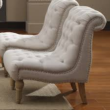 Upholstered Accent Chair Emerald Hutton Fabric Upholstery Series Linen Look Nailhead