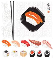 japanese food is sushi set with ornament royalty free cliparts