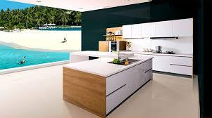 cuisine blanc laqué et bois cuisine bois et blanc laque ikea blanche sans poignee en image