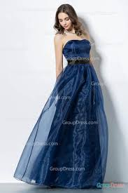 strapless sweetheart a line navy blue long organza prom dress