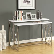 Silver Laminate Flooring Double White Wooden Console Table With Silver Chrome Base On