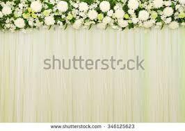 wedding backdrop of flowers beautiful white green backdrop flowers arrangement stock photo