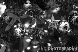 tree ornaments black and white photo