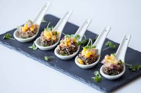 canapes ideas seared sesame tuna on cucumber topped with mango and coriander salsa