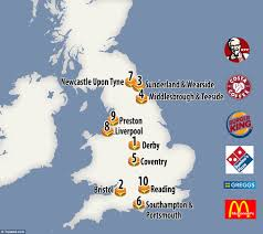 Liverpool England Map by Map Reveals Derby Has The Highest Number Of Subways Greggs And