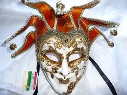 venetian jester mask genuine venetian fabulous orange jester mask with bells