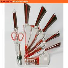 swiss kitchen knives stainless steel swiss line knife set with acrylic holder buy