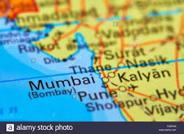 India On The World Map by Mumbai Bombay City In India Asia On The World Map Stock Photo