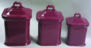 purple canister set kitchen jcpenney vintage burgundy at replacements ltd