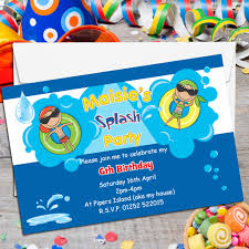 Invitation Card For Pool Party 10 Personalised Swimming Pool Birthday Party Invitations N116