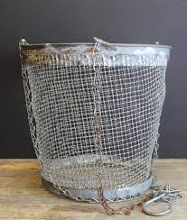 Shabby Chic Wire Baskets by Vintage Old Fishing Basket Plant Hanger Metal Wire Hanging
