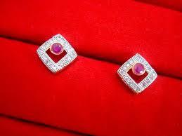 lowest price ad26 pink zircon studded edge pendant earrings