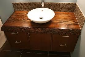 Sink Bowl On Top Of Vanity Traditional Bathroom Vanity Vessel Sink Height Featuring Brown