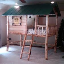 Wooden Bunk Bed Designs by Tree House Log Cabin Custom Made Wooden Bunk Bed Cool