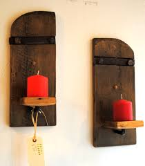 Candle Sconce Rustic Wall Mounted Candle Sconces Set Of 2 Empty Spaces Design