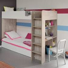 wooden bunk beds with desk diyt plans under fluffy white bedding