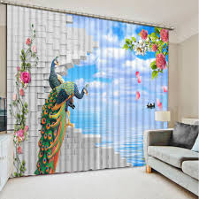 elegant and unique with use peacock curtains room design color
