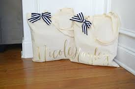 bridal party gift bags bridesmaid tote bag gold bridal party tote bag personalized