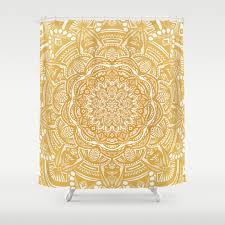 Mustard Curtain Minimal Mandala Shower Curtains Society6