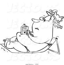 vector of a cartoon chubby reading a romance novel and sun