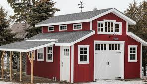 charming red barn garage featuring clopay coachman collection