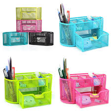 Pencil Holders For Desks 9 Compartments Desk Organizer Metal Black Mesh Desktop Office Pen