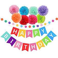 Amazon Happy Birthday Decorations Banner With Tissue Pom Poms