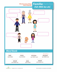 family in spanish foreign languages printables and worksheets
