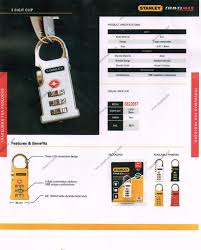 stanley travel max series 3 digit tsa clip padlocks papahardware