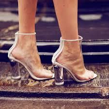 womens boots block heel clear plastic boots see through pvc boots back zipper
