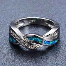 Blue Wedding Rings by Amazon Com Rongxing Jewelry Opal Ring Ocean Blue Size 10 Band