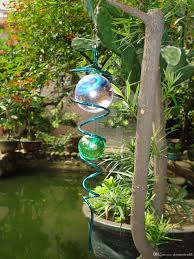 Cheap Gazing Balls Wind Spinner Spiral For Home Garden Indoor Outdoor With 2 Glass