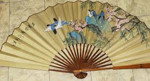 Chinese Wall Fan by Chinese Fan Large Wall Hanging Bamboo Spine Fan Hand Painted