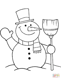 snowman with broom coloring page free printable coloring pages