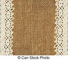 burlap and lace ribbon burlap lace burlap background with white lace ribbon stock