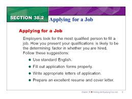 How To Fill A Resume Section 38 2 Applying For A Job Ppt Download