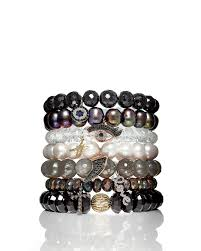 black pearl charm bracelet images Lyst sydney evan 10mm black diamond spinel bead bracelet with jpeg